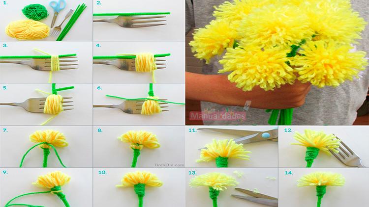 como hacer flores con lana con un tenedor