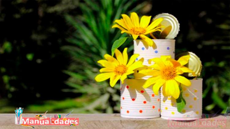 manualidades con latas para jardin
