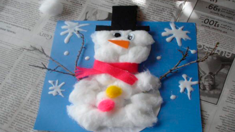 muñeco de nieve con algodon